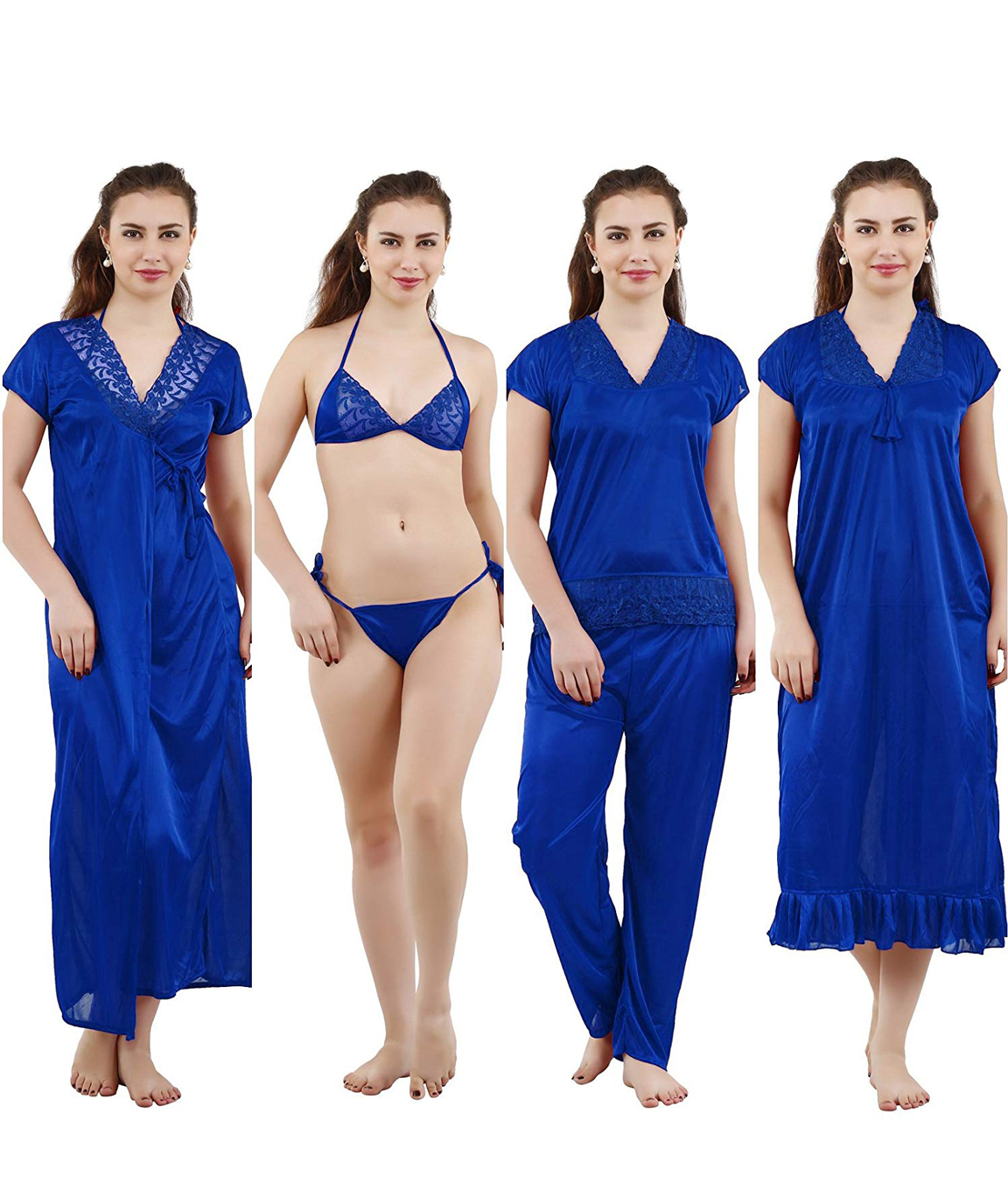 Romaisa Women`s Satin Nighty, Wrap Gown, Top, Pajama, Bra and Thong (Free Size) (Pack of 6) COLOUR : ROYAL BLUE