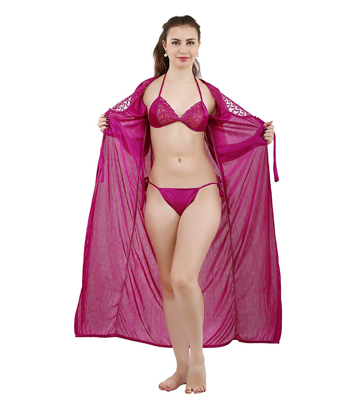 Romaisa Women`s Satin Nighty, Wrap Gown, Top, Pajama, Bra and Thong (Size - Small, Medium, Large) (Pack of 6) COLOUR : MAGENTA