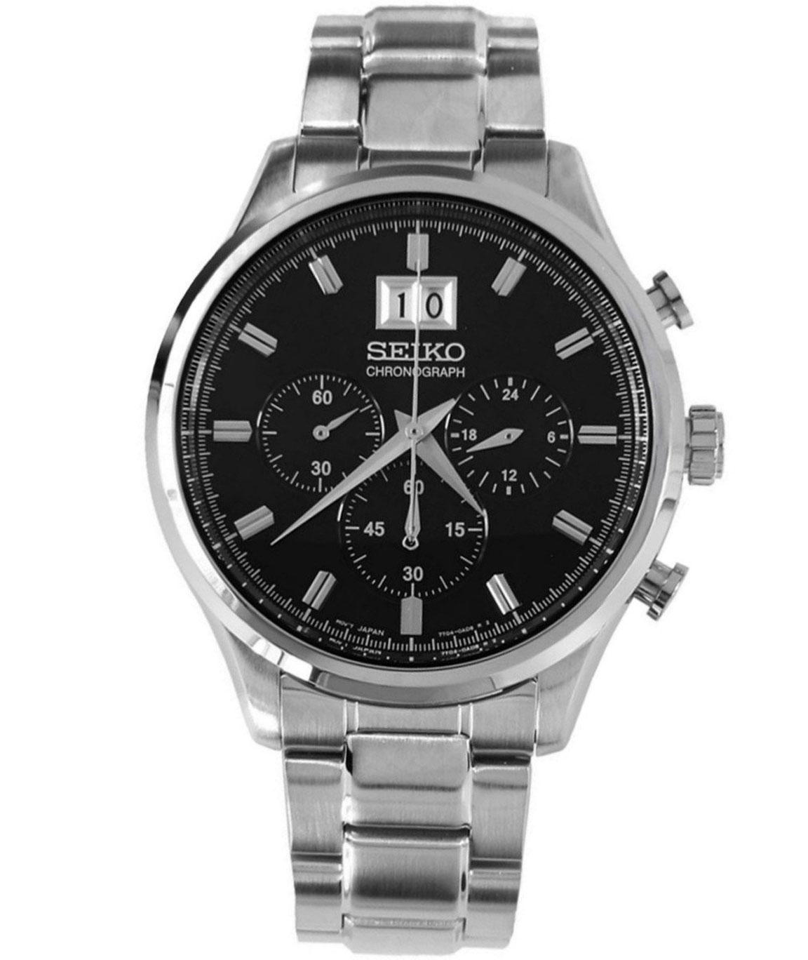 Seiko Chronograph Black Dial Men`s Watch
