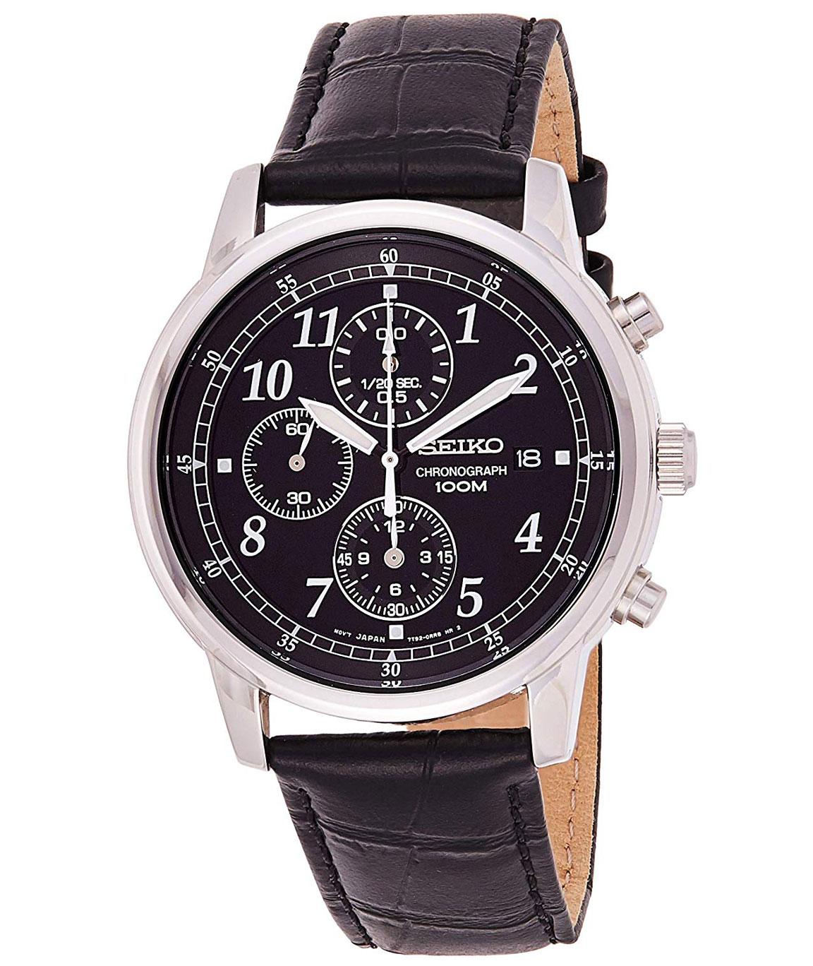 Seiko Dress Chronograph Black Dial Men`s Watch