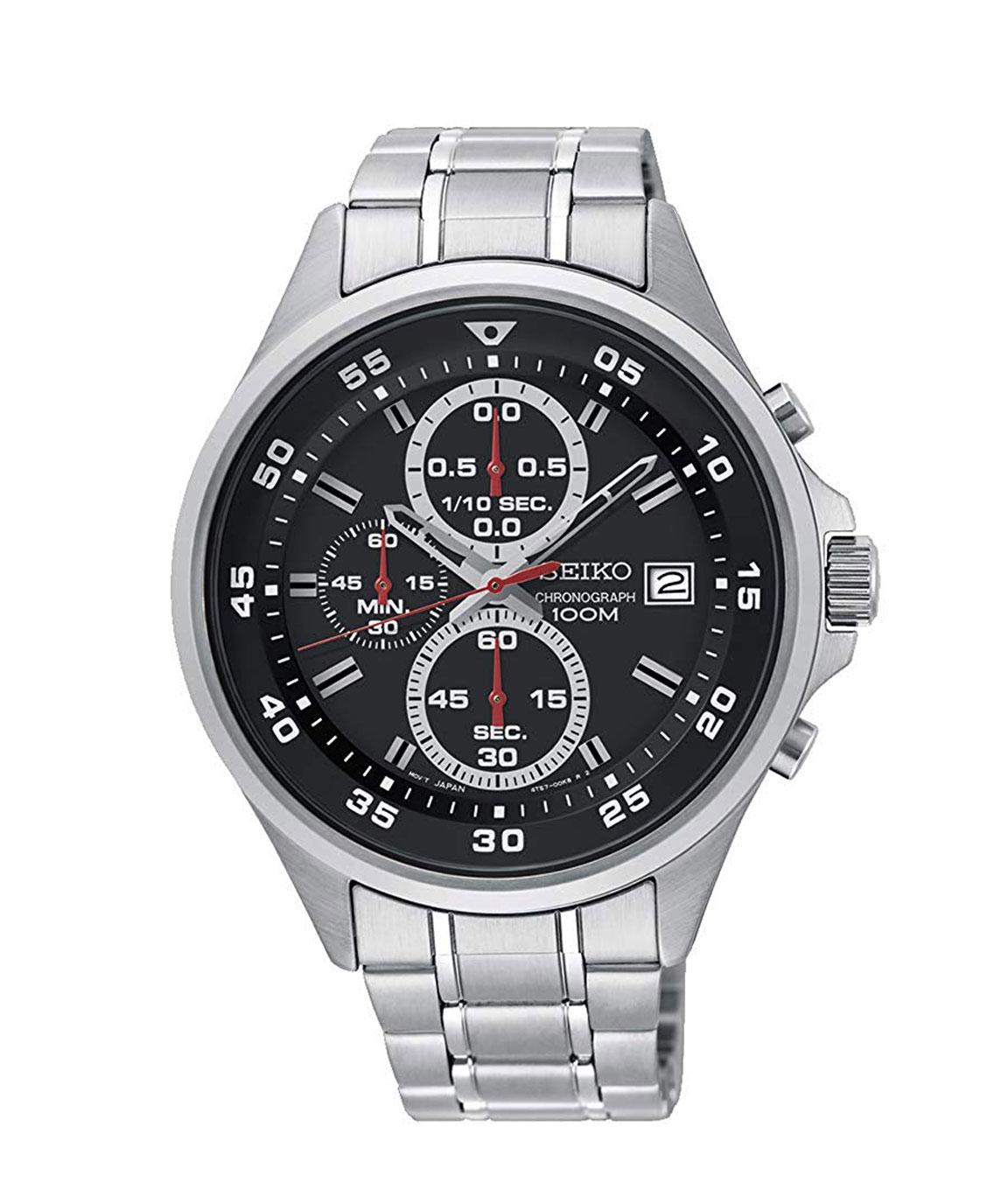 Seiko Mens Black Chronograph Stainless Steel Bracelet Watch
