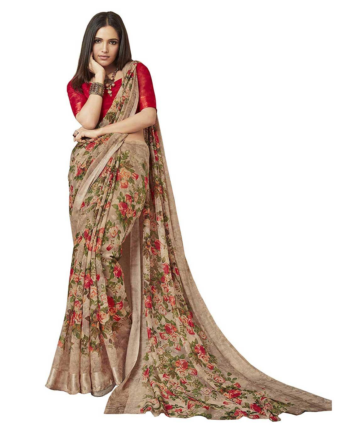 Shangrila Designer Women`s Digital Printed Linen Cotton Saree with Unstitched Blouse (Brown)