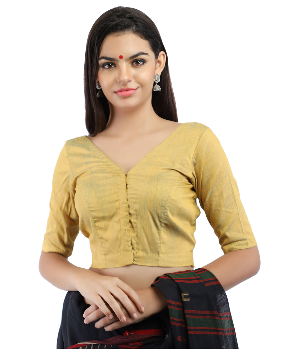 Silk Slub Yellow and Blue Dual Tone Non-Padded Blouse in V-Neck With Front Hook Closure (COLOUR : YELLOW)