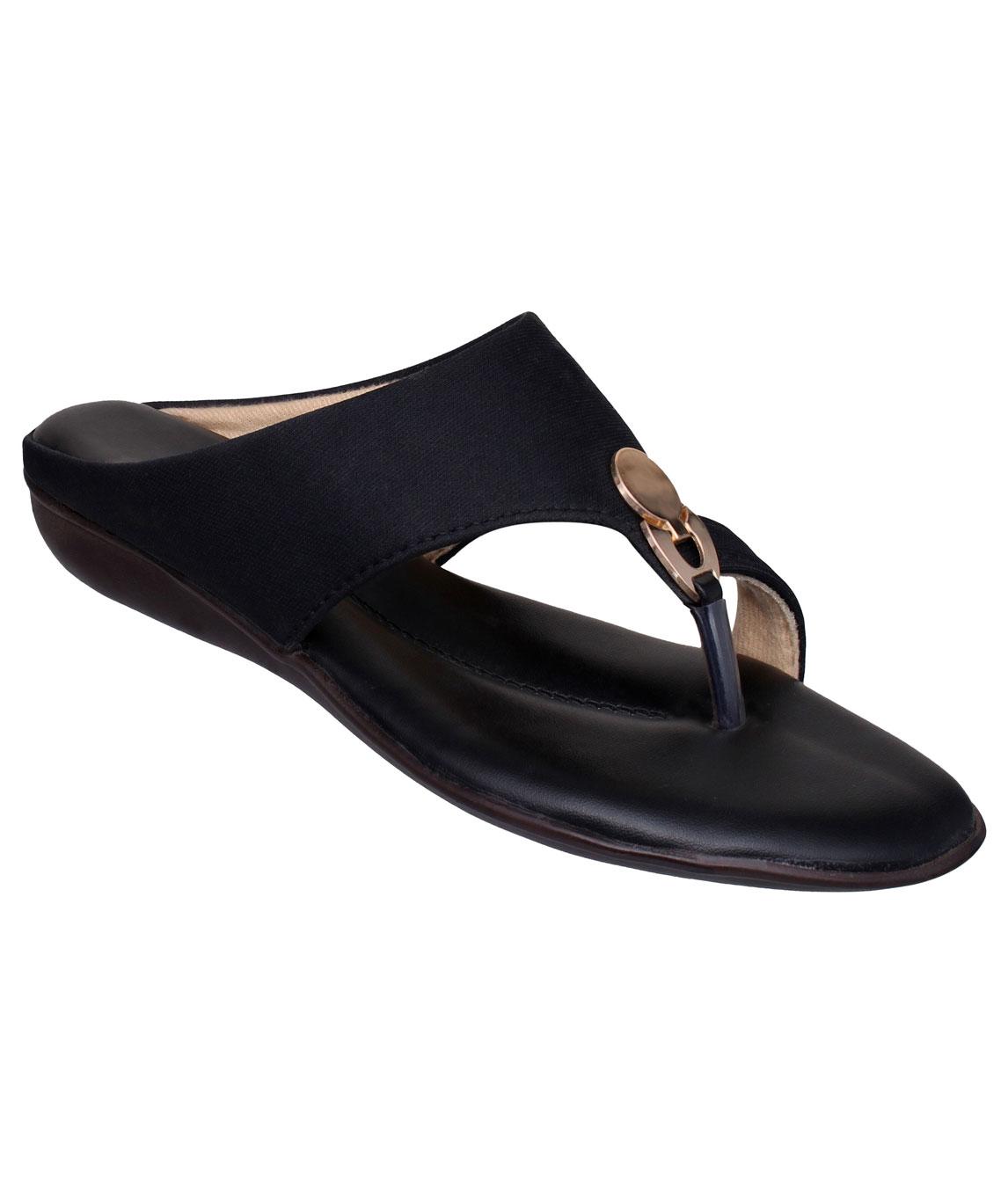 Sindhi Footwear Men`s Black Faux Leather Flats