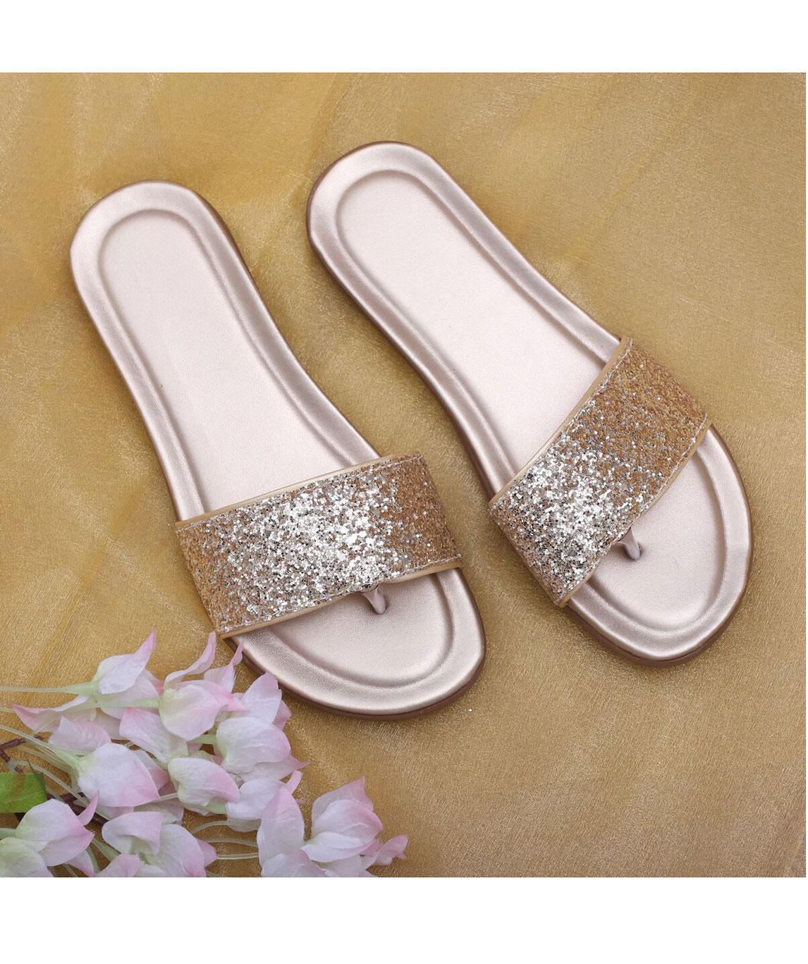 Sindhi Footwear Men`s Golden Faux Leather Flats