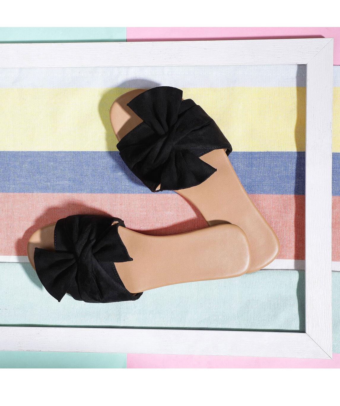 Sindhi Footwear Women`s Black Rexin Casual Flat Slip-on