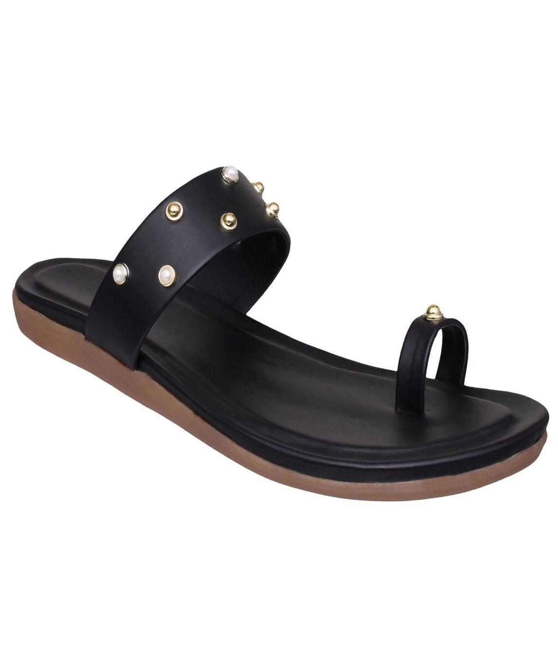 Sindhi Footwear Women`s Black Rexin Casual Flats