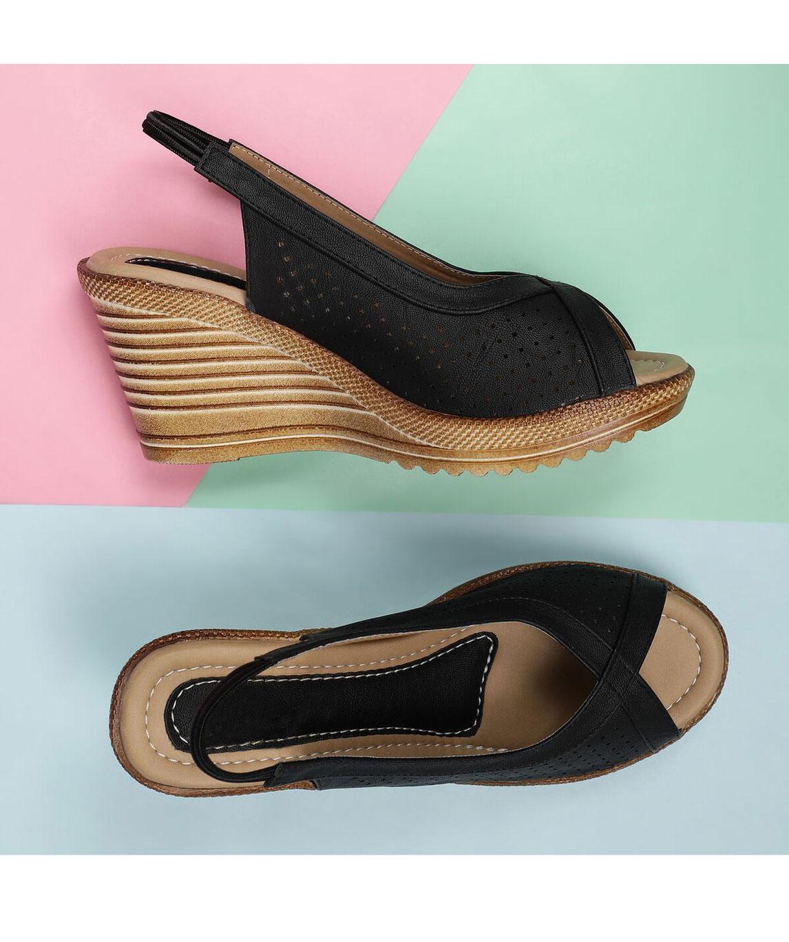 Sindhi Footwear Women`s Black Rexin Casual Heel Sandals