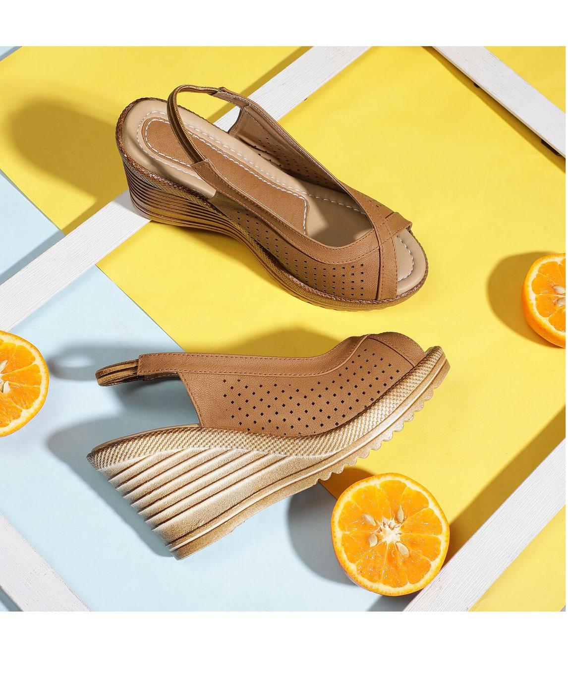 Sindhi Footwear Women`s Brown Rexin Casual Heel Sandals