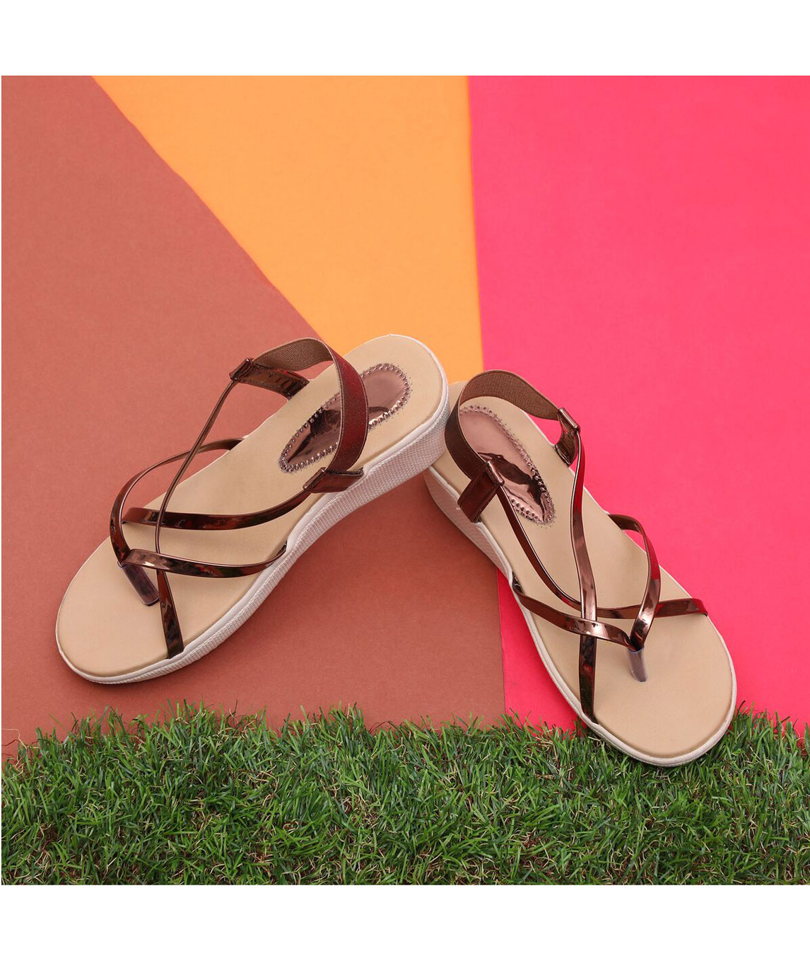 Sindhi Footwear Women`s Copper Rexin Casual Sandals