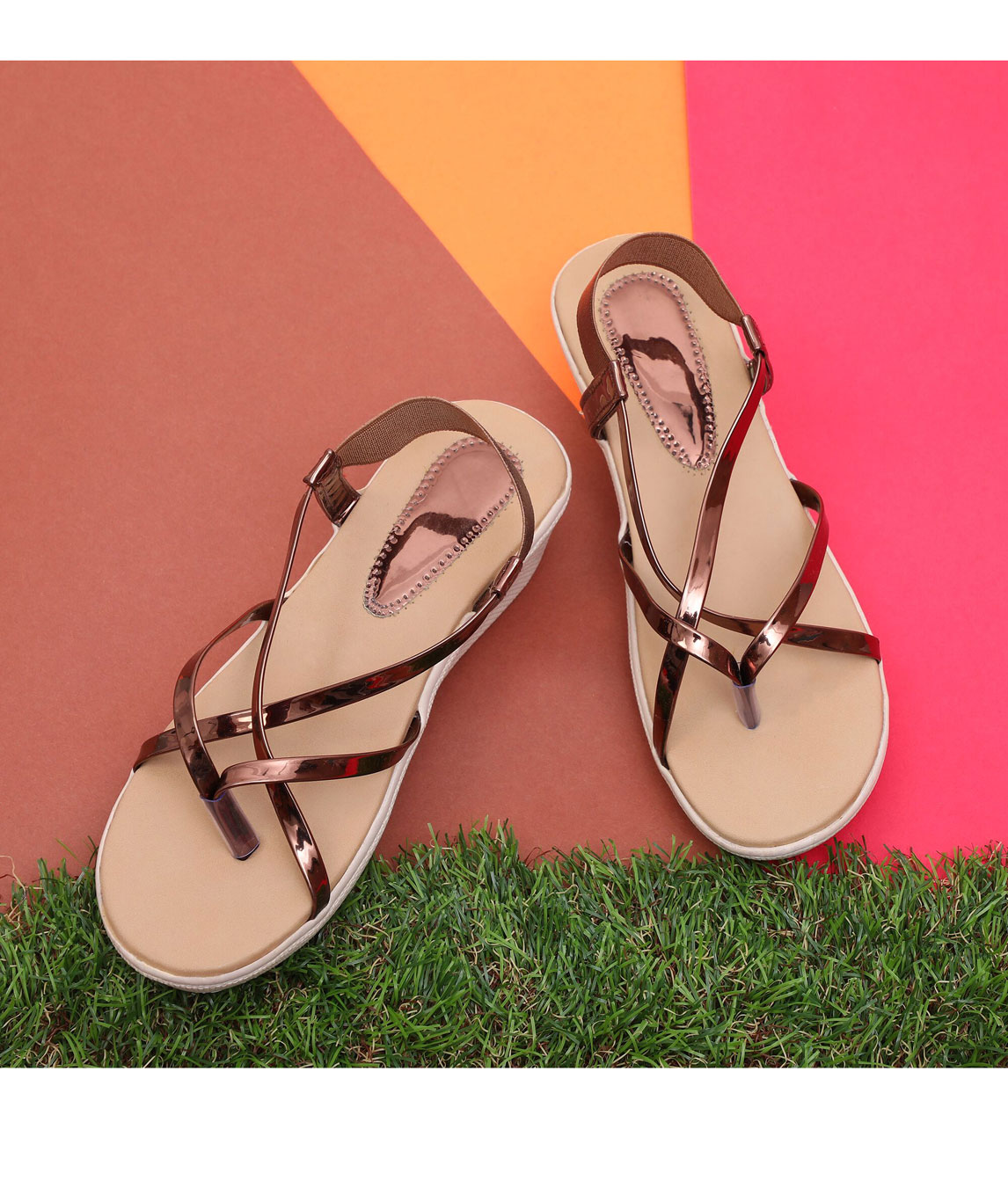 Sindhi Footwear Women`s Copper Synthetic Leather Sandals