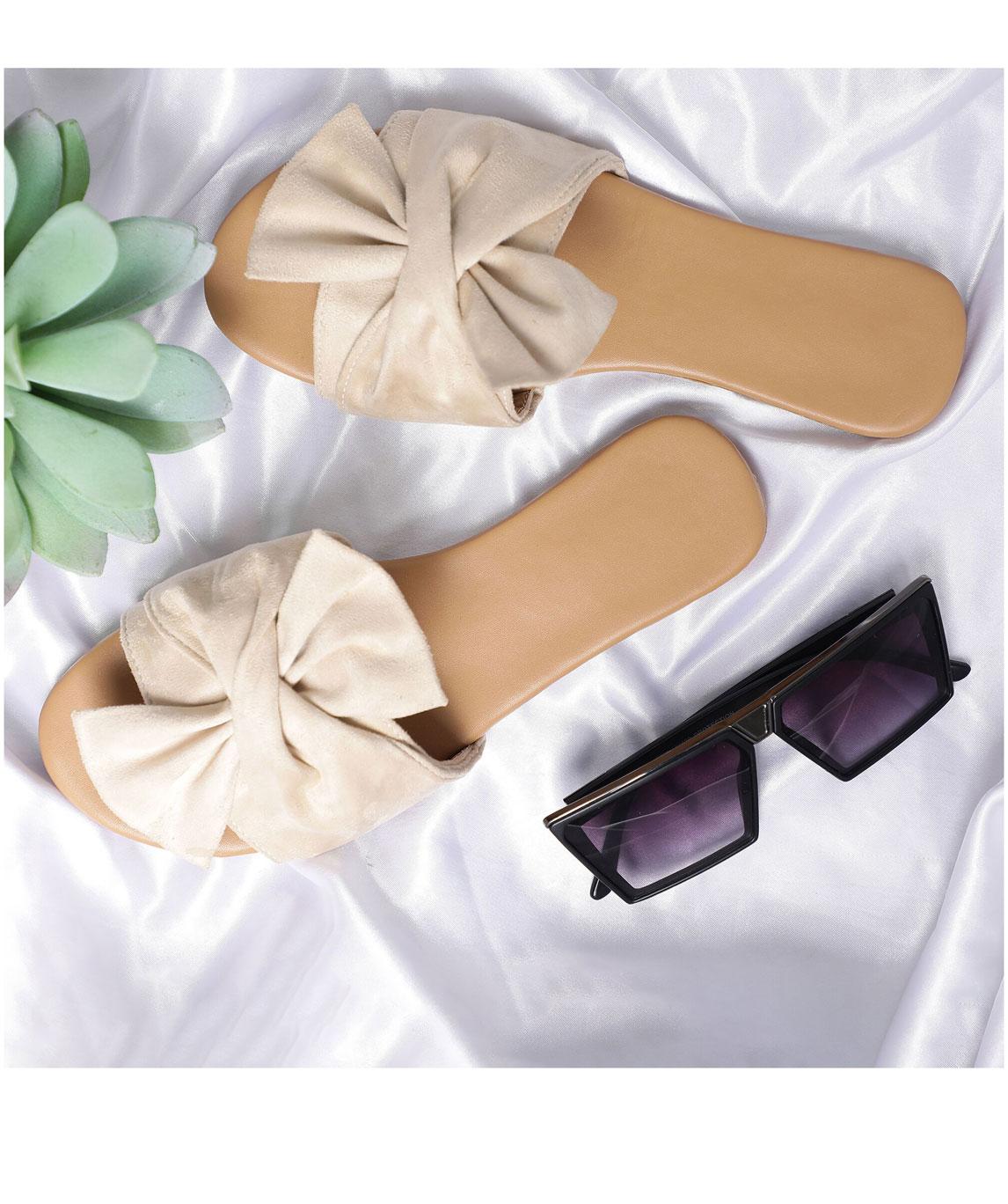 Sindhi Footwear Women`s Cream Rexin Casual Flat Slip-on