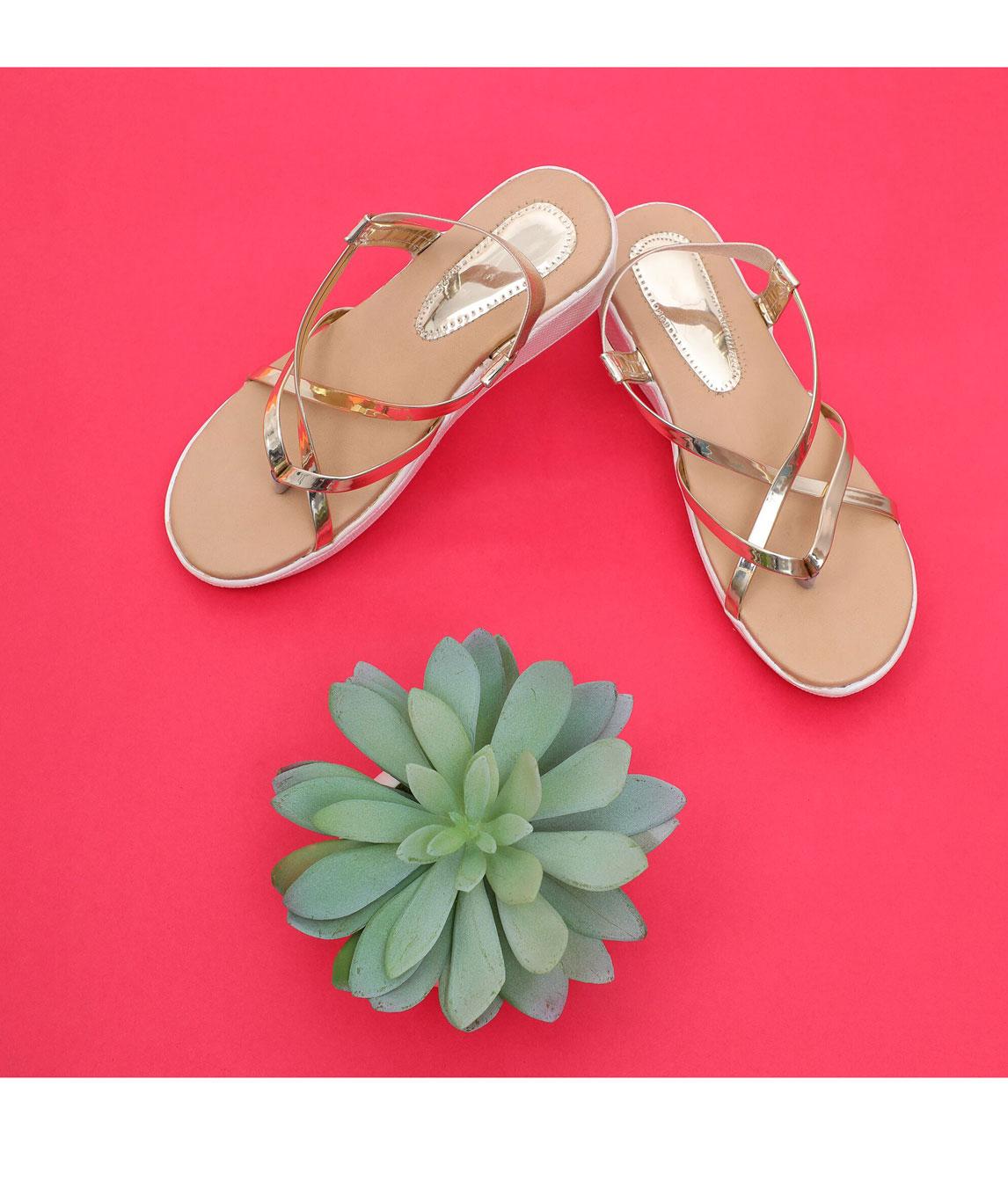 Sindhi Footwear Women`s Golden Rexin Casual Sandals