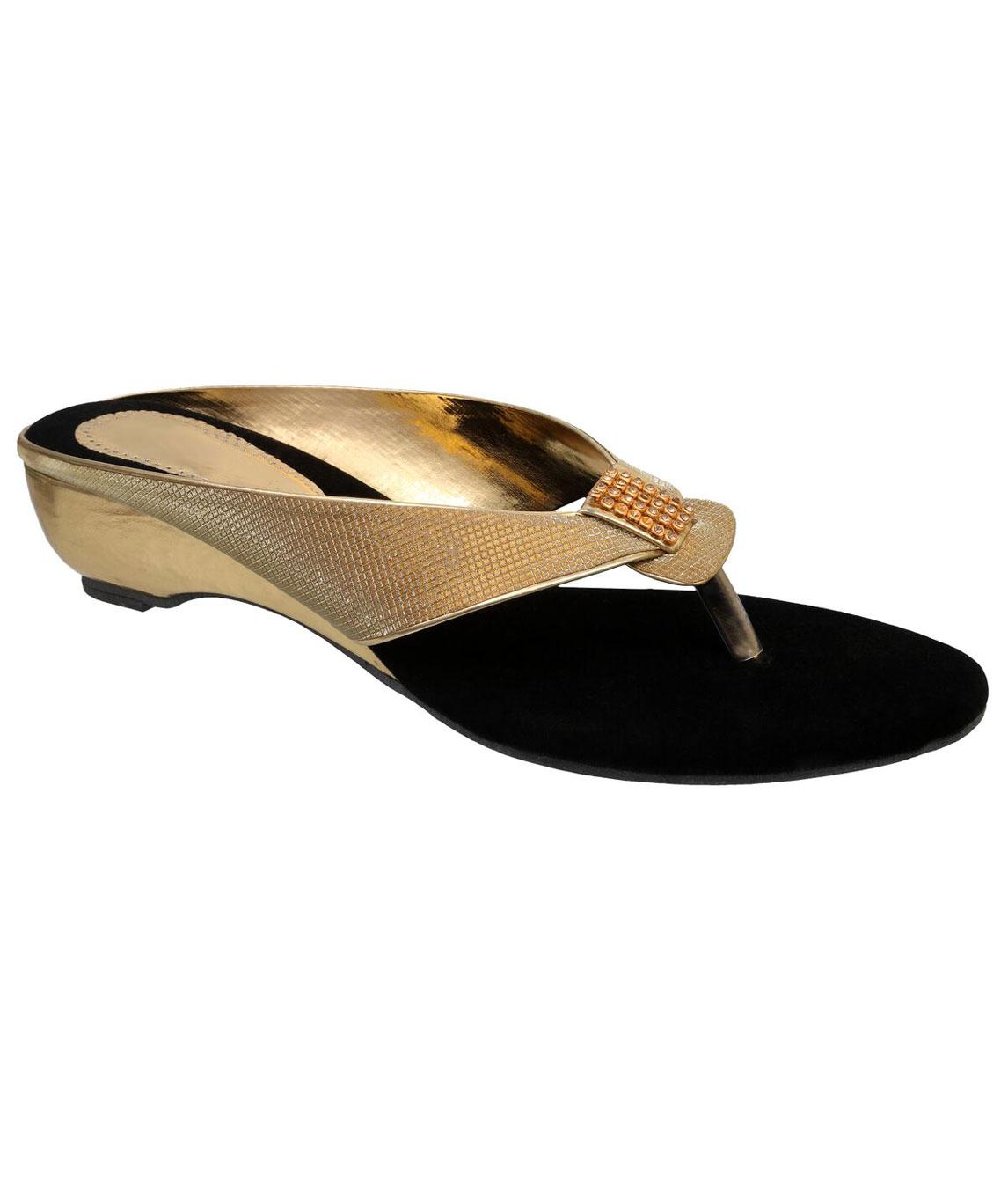 Sindhi Footwear Women`s Golden Rexin Ethnic Sandals
