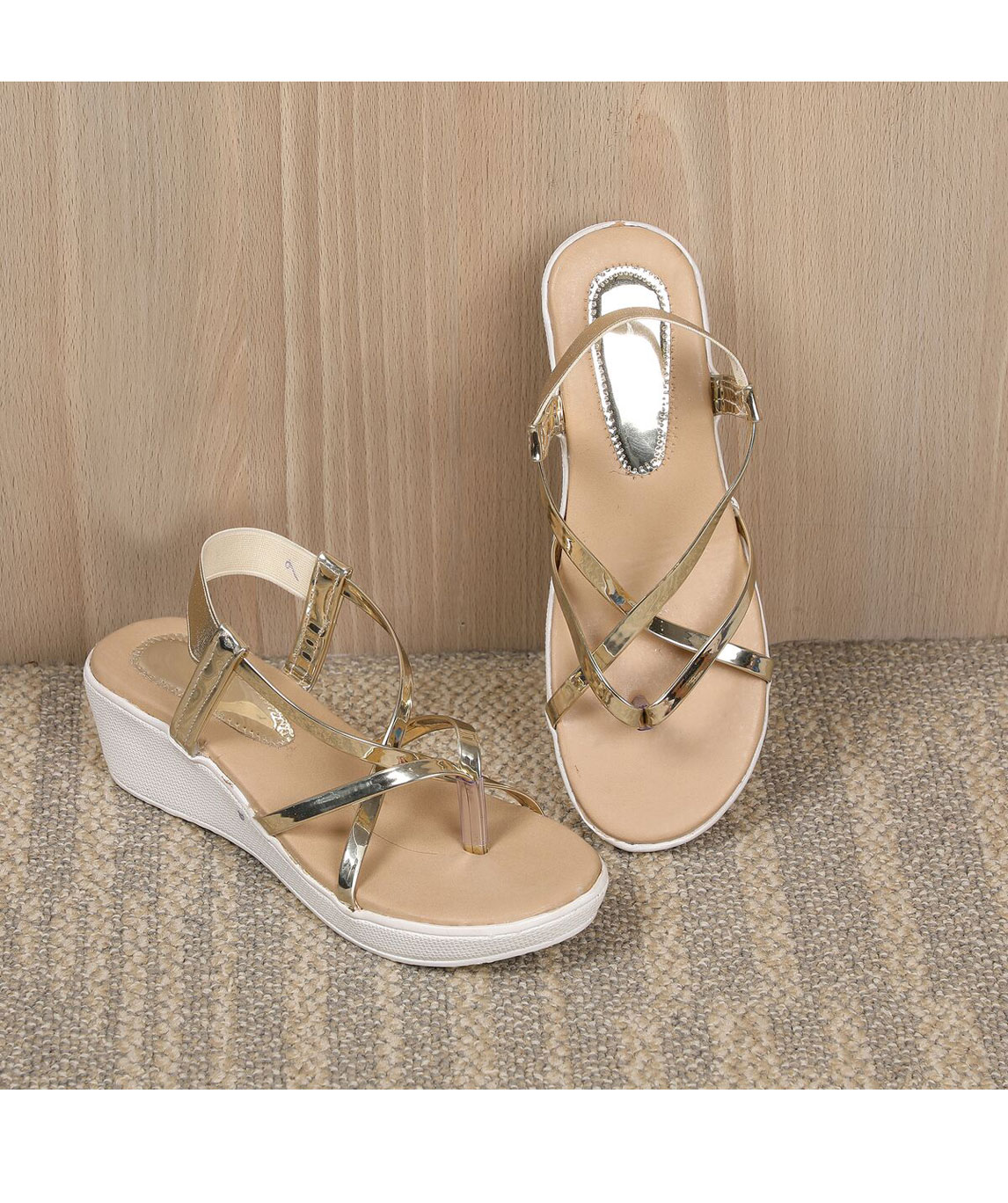 Sindhi Footwear Women`s Golden Synthetic Leather Sandals