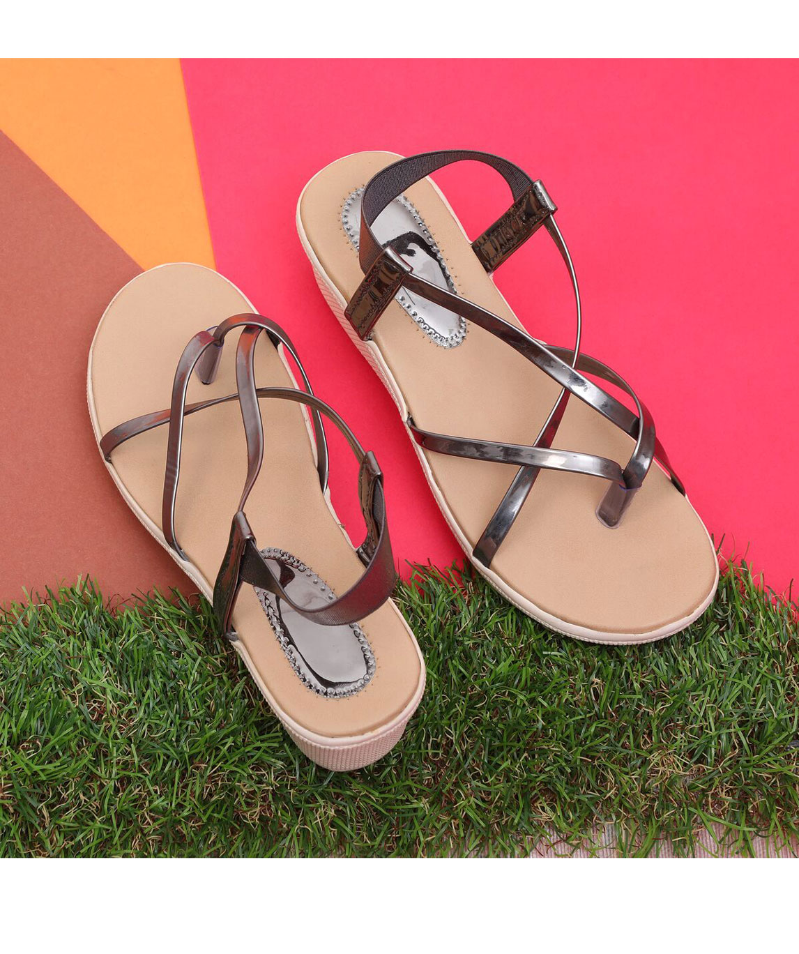 Sindhi Footwear Women`s Grey Synthetic Leather Sandals
