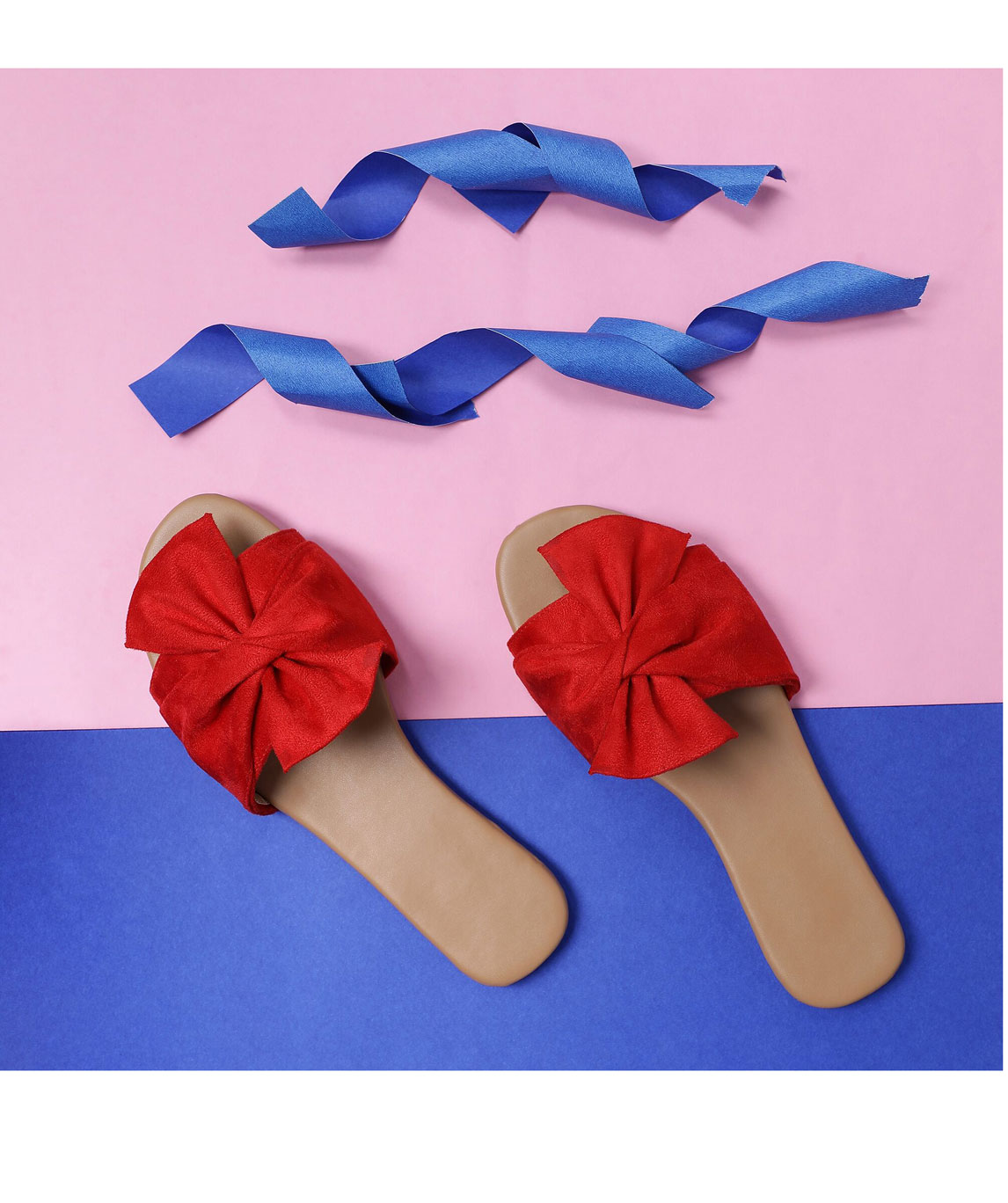 Sindhi Footwear Women`s Red Rexin Casual Flat Slip-on