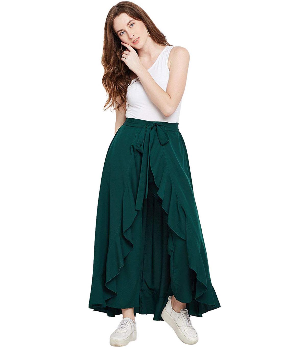 women Women`s Ruffle Palazzo Skirt(olive green)