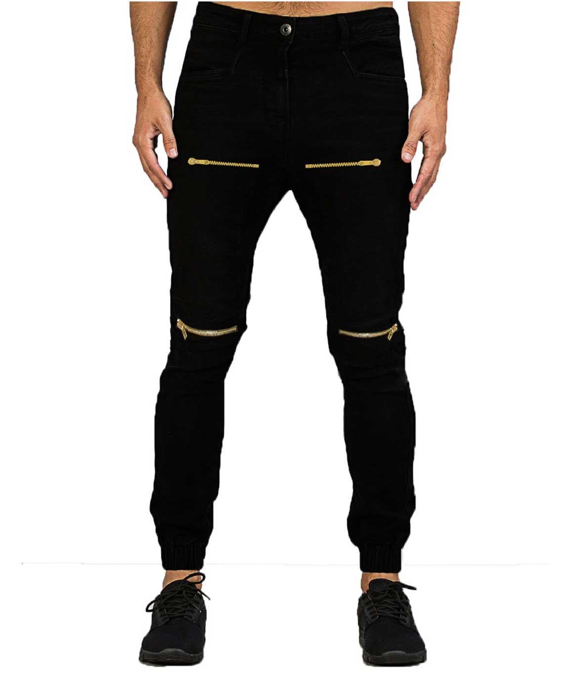 Stylish BLACK slim fit Double chain jogger
