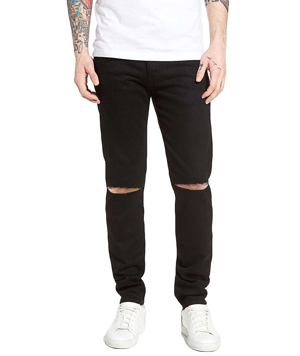 Stylish Black Slim Fit Knee Cut Jeans