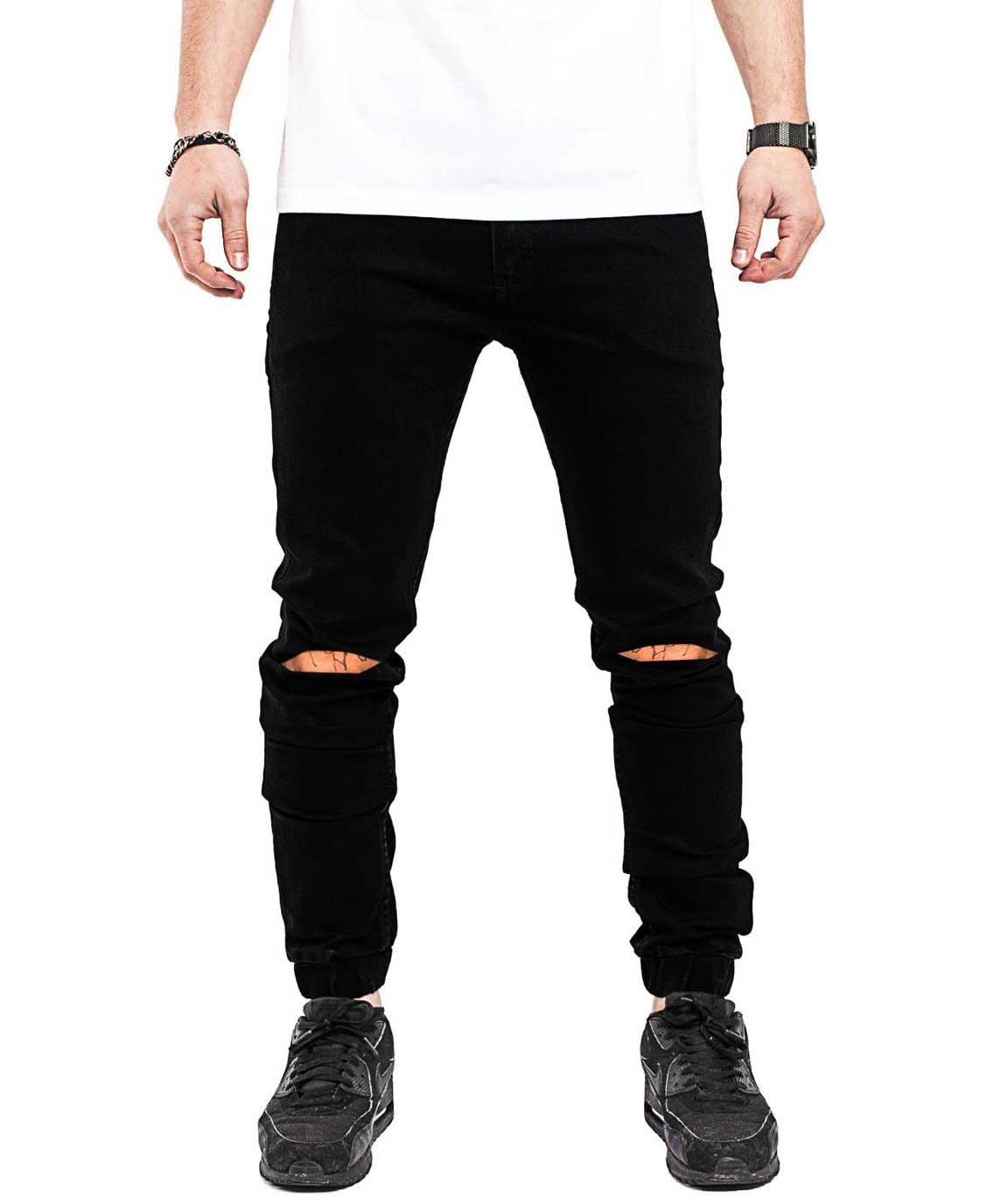 Stylish Black Slim Fit Knee Cut Jogger