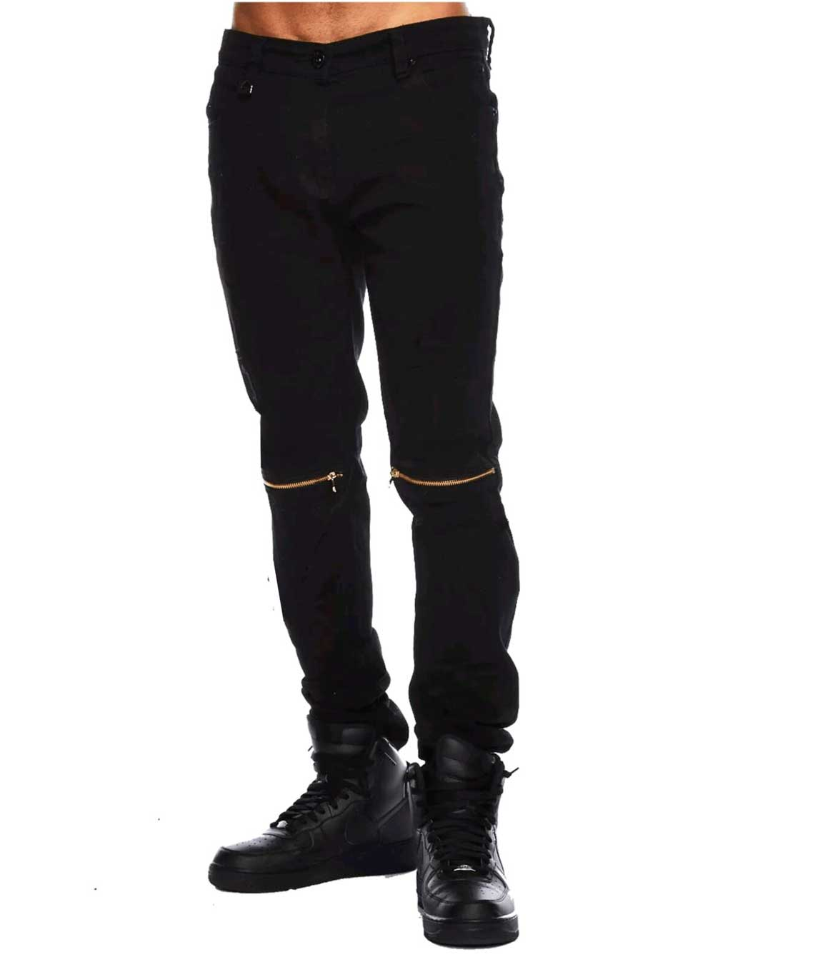 Stylish Black Slim Fit Knee Zipper Jeans