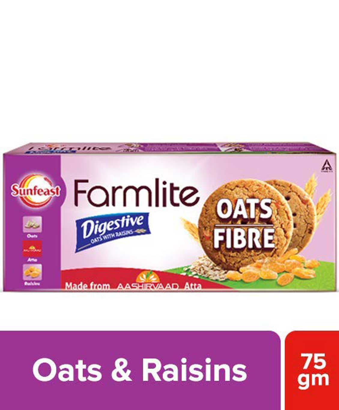 Sunfeast Farmlite Digestive Oats with Raisins Biscuits 75g