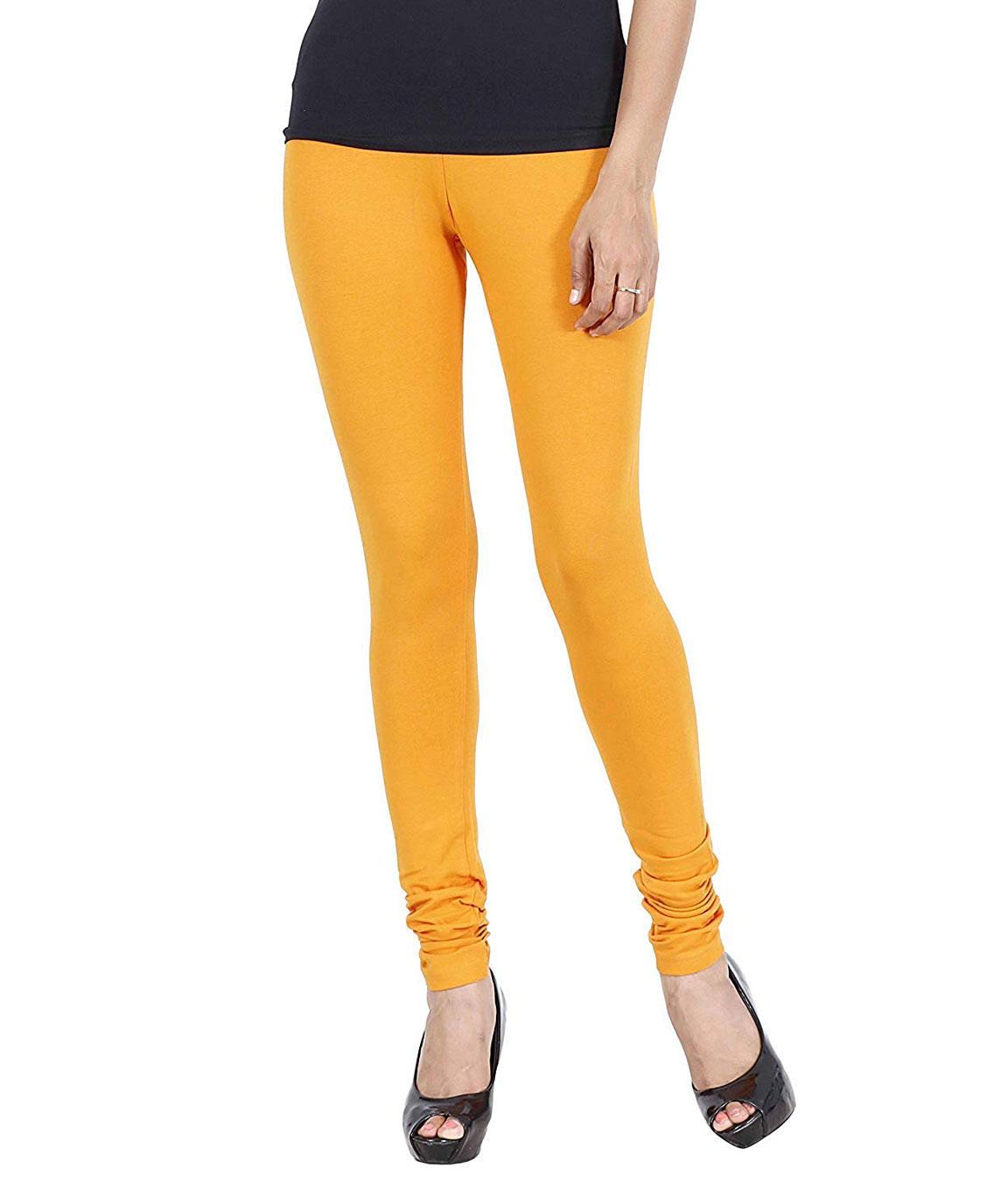 Swag  Cotton Leggings Churidar, Comfortable, and Soft Leggings(Turmaric Yellow)