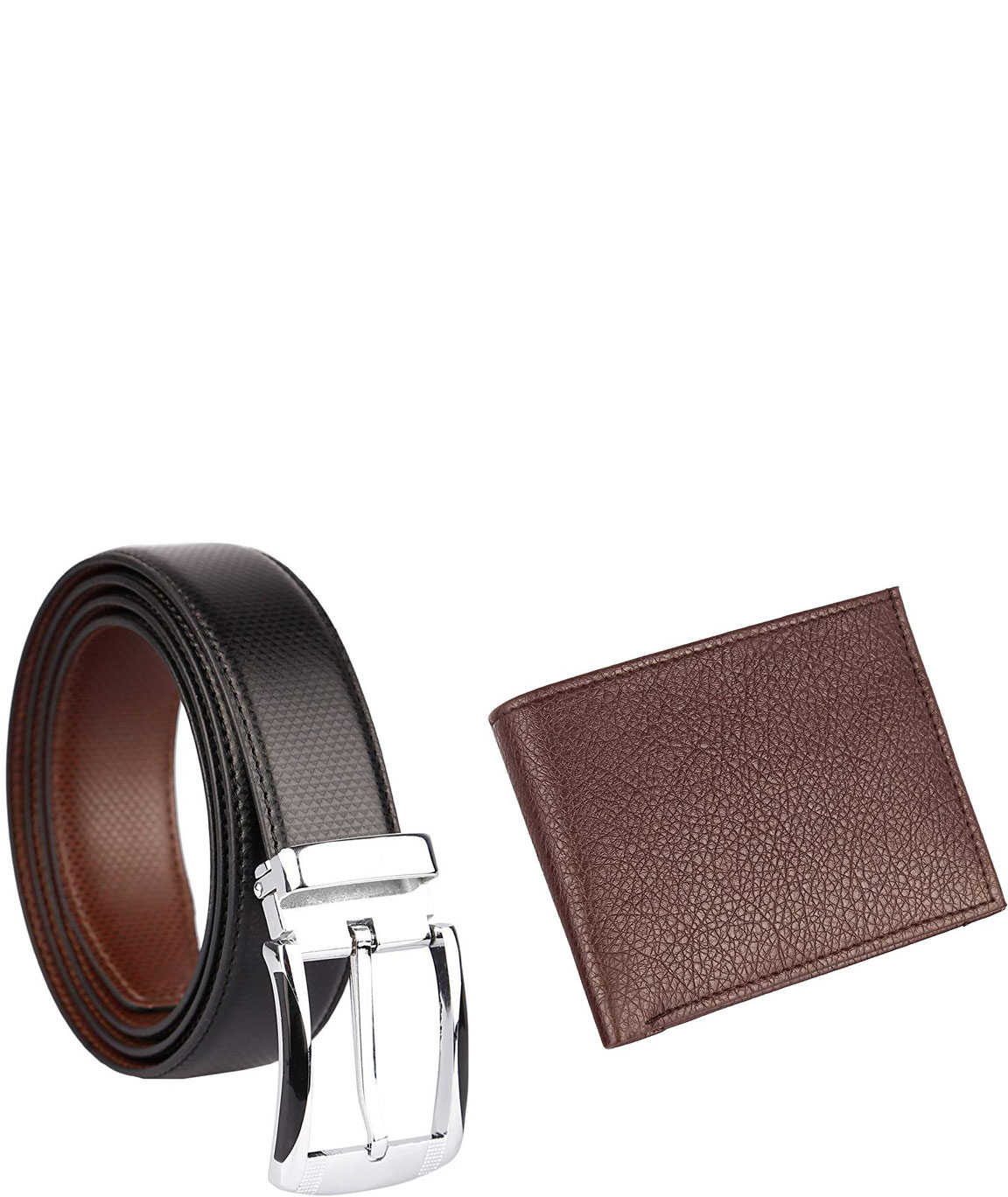 Urban Alfami Mens Brown Wallet and Belt Combo
