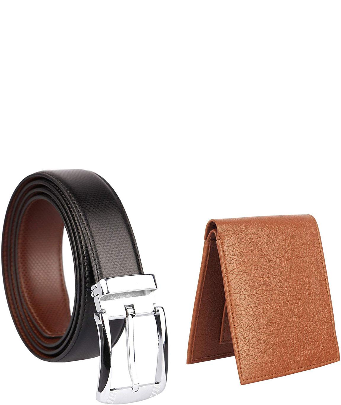 Urban Alfami Mens tan Wallet and Belt Combo