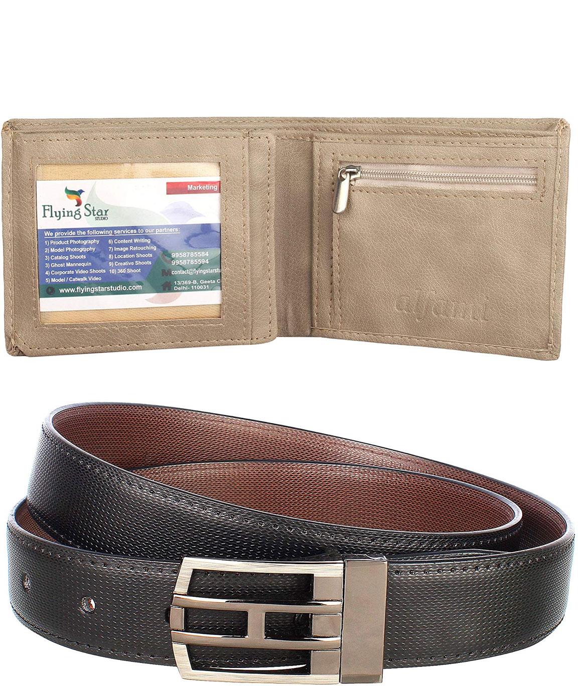 Urban Alfami Reversible Belt and Beige Wallet Combo