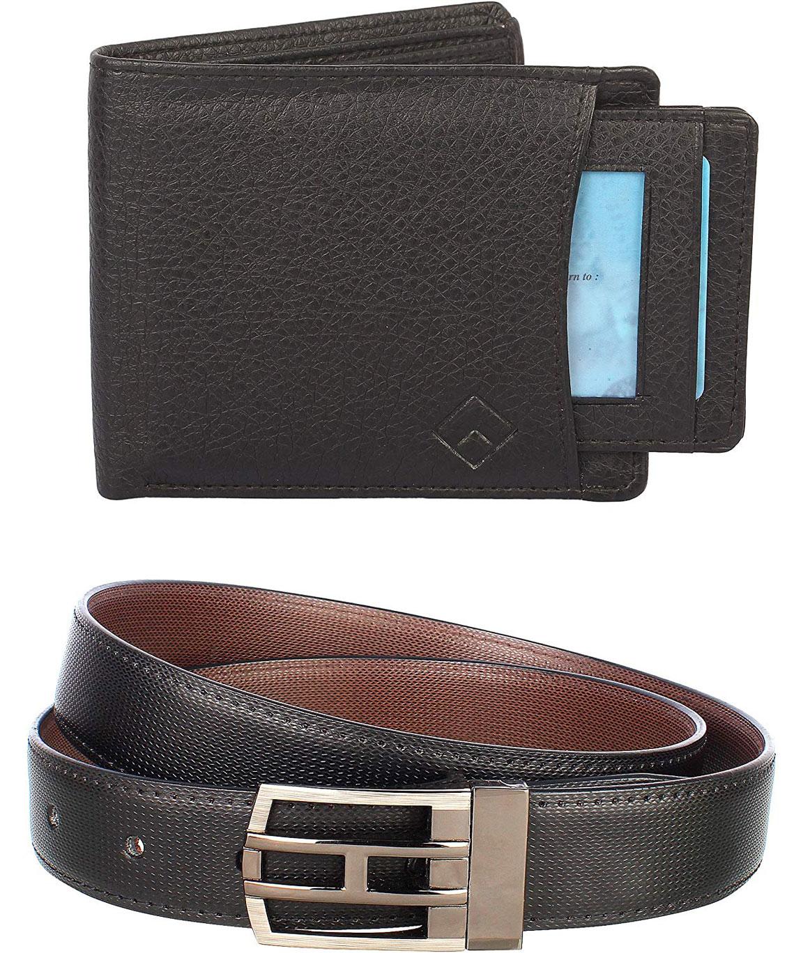 Urban Alfami Reversible Belt and Black External Card Slot Wallet Combo