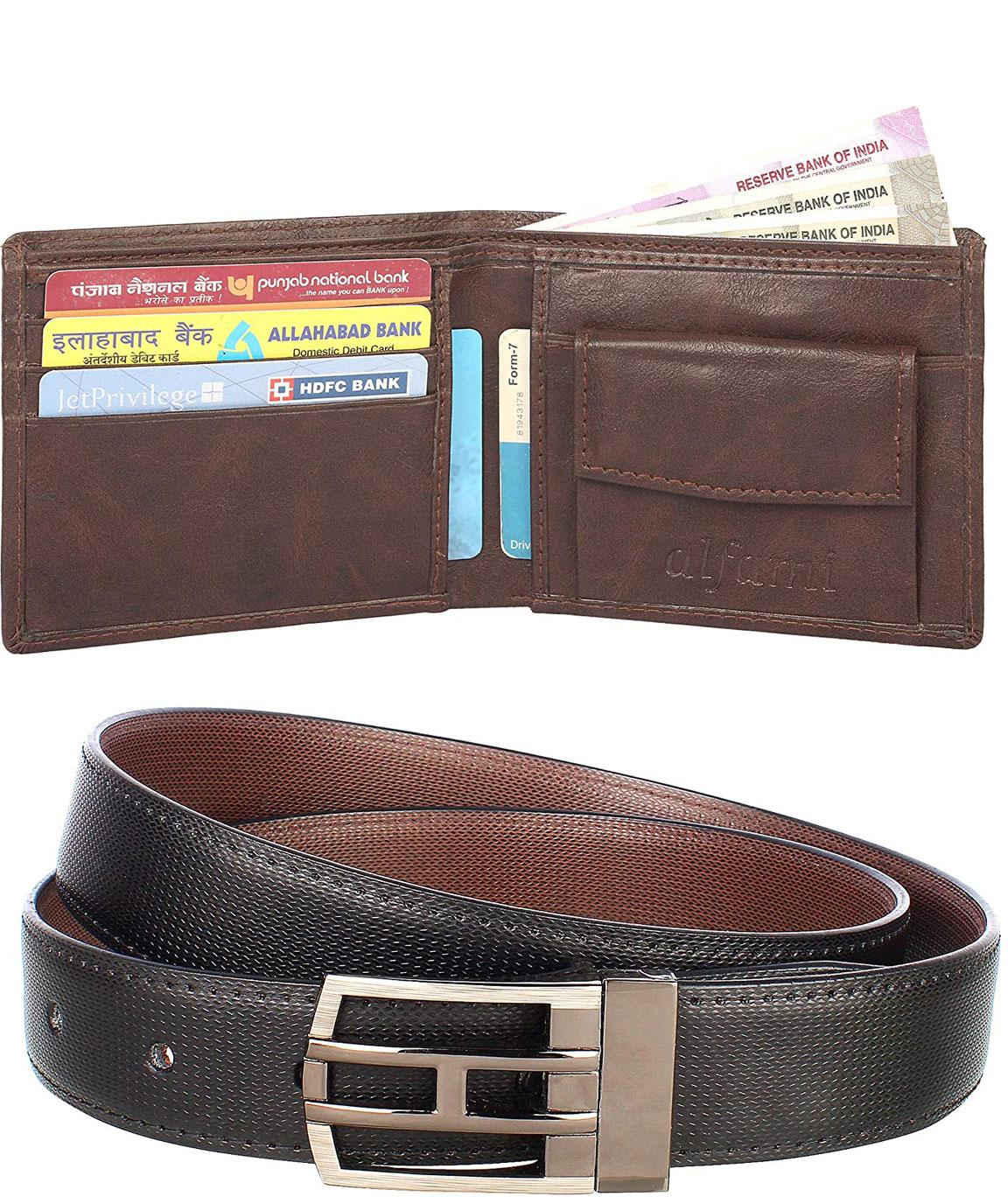 Urban Alfami Reversible Belt and Brown Wallet Combo
