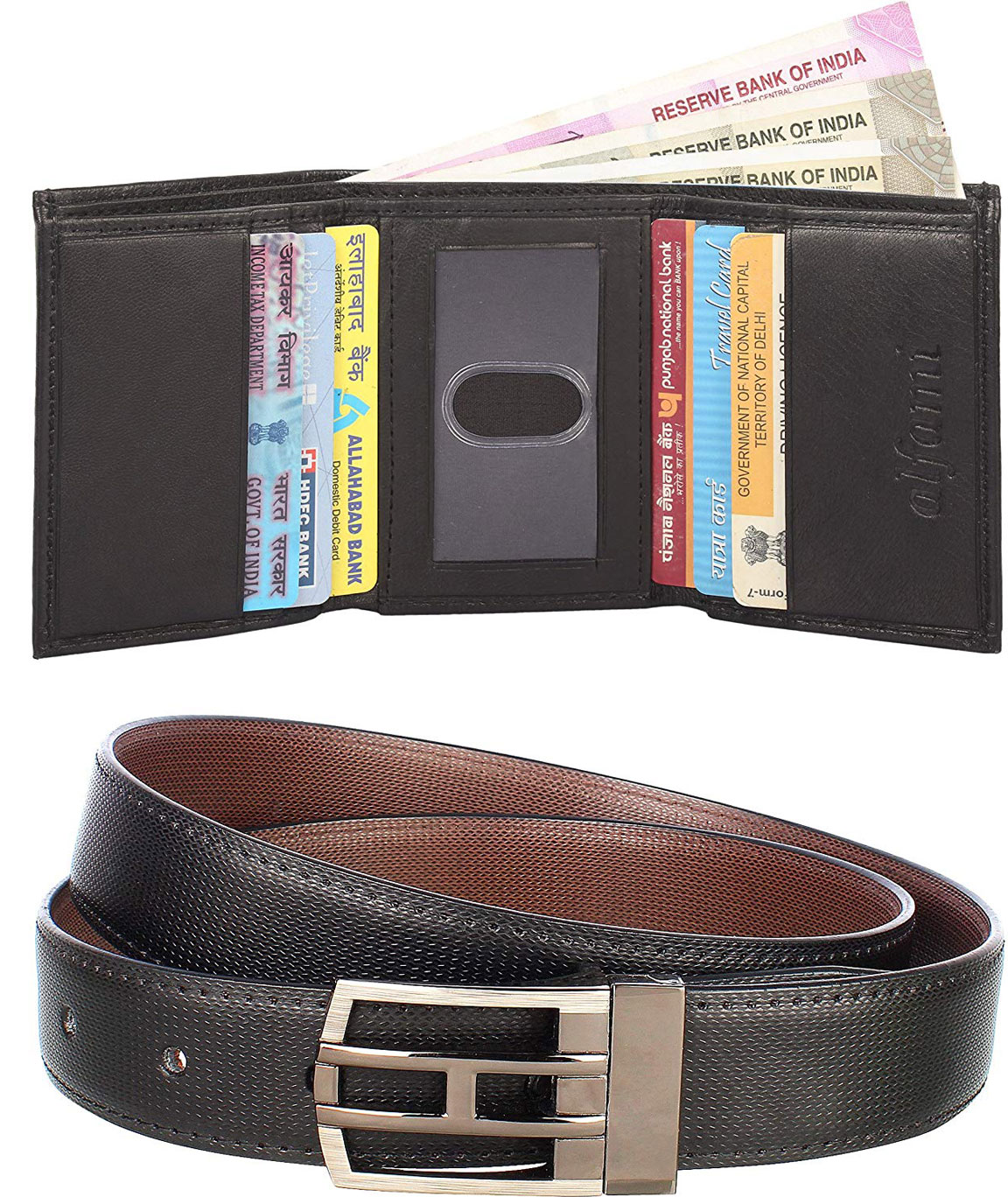 Urban Alfami Reversible Belt and Genuine leather trifold Wallet Combo