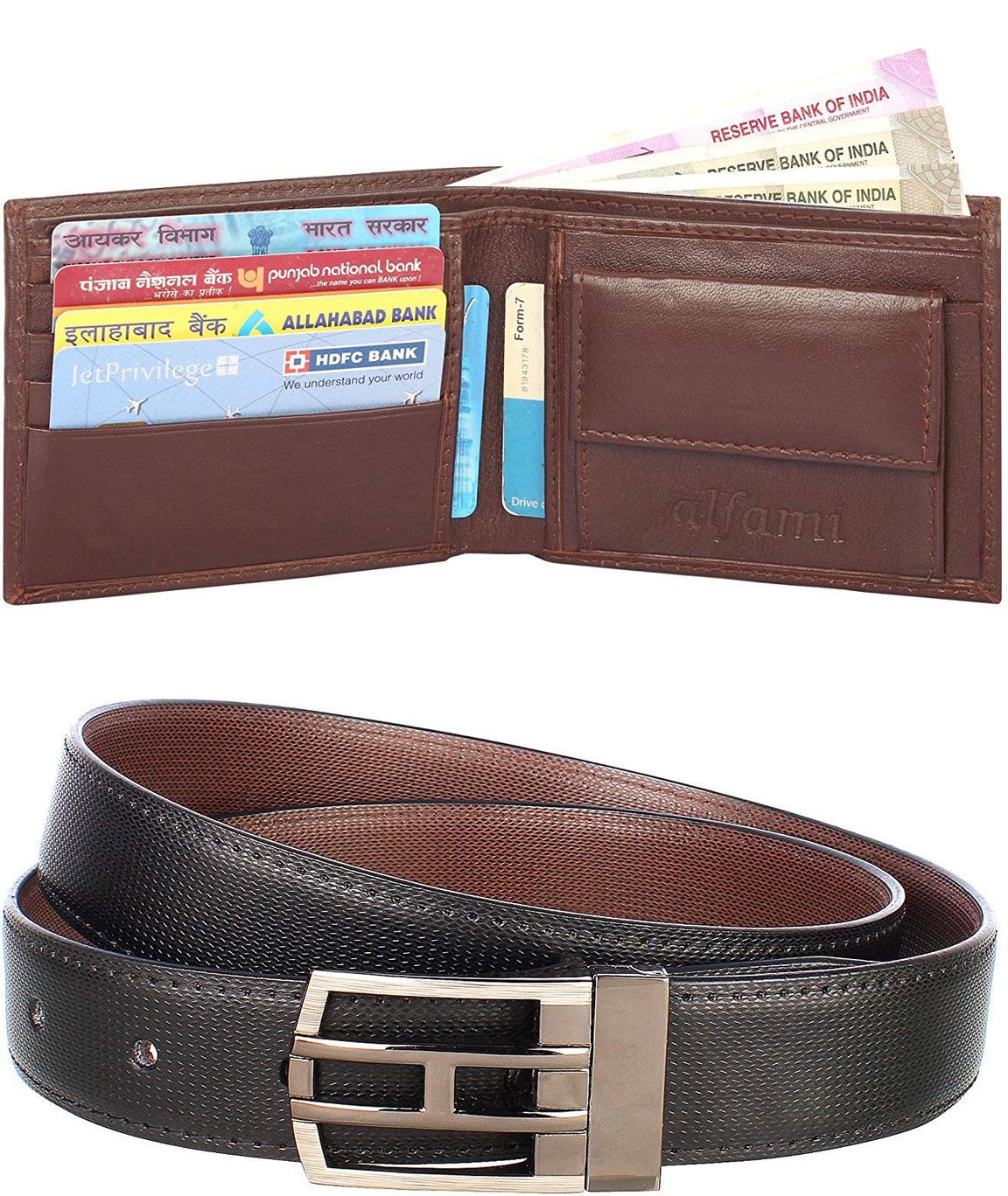 Urban Alfami Reversible Belt and Genuine leather Wallet Combo