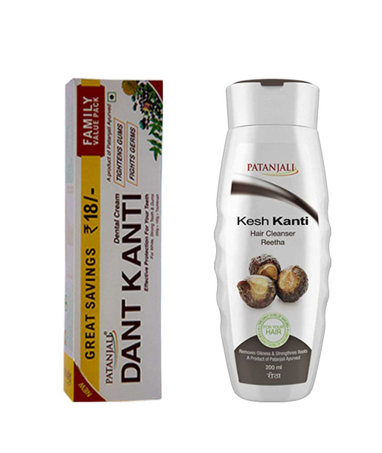 VADMANS Dantkanti Natural Toothpaste Family Pack(200+100g paste +75g soap) & Reetha Shampoo 200ml (Removes Oiliness & Strengthens Roots)