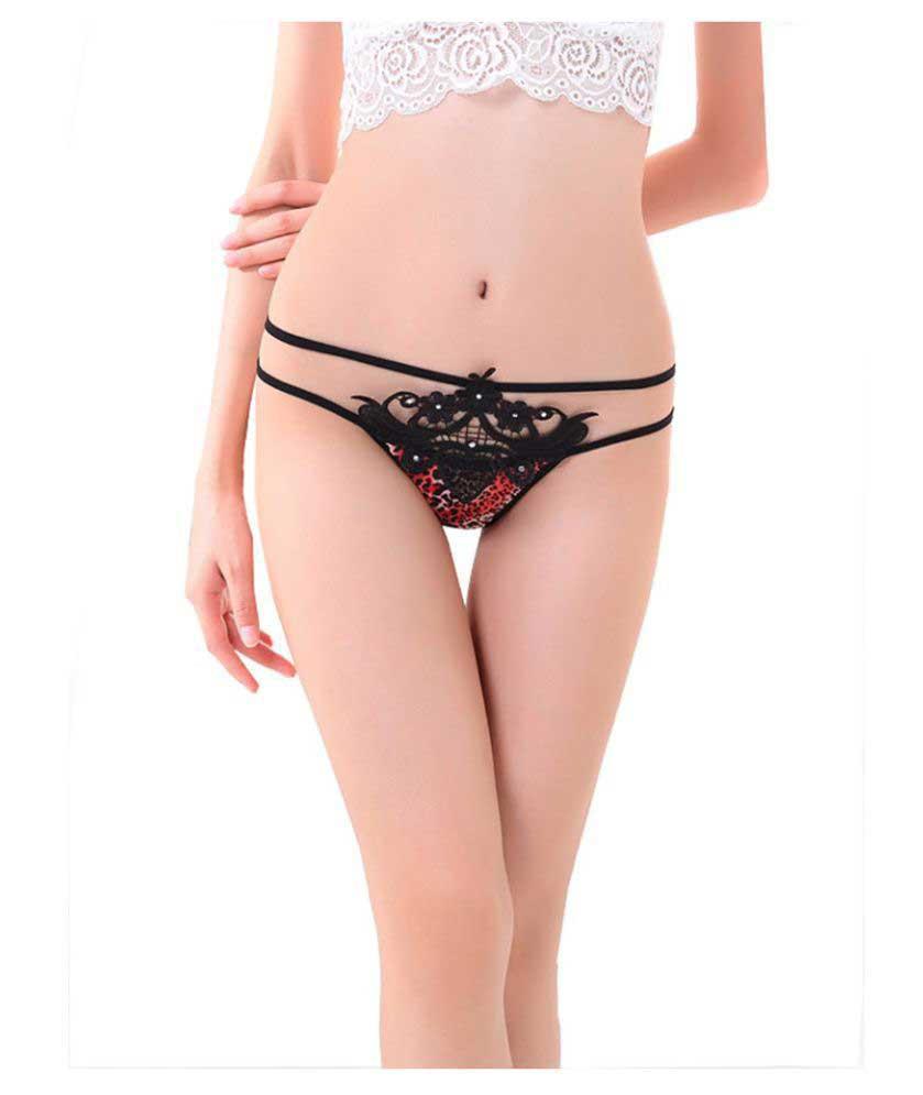 Velvet Dreams Black Poly Cotton Panties