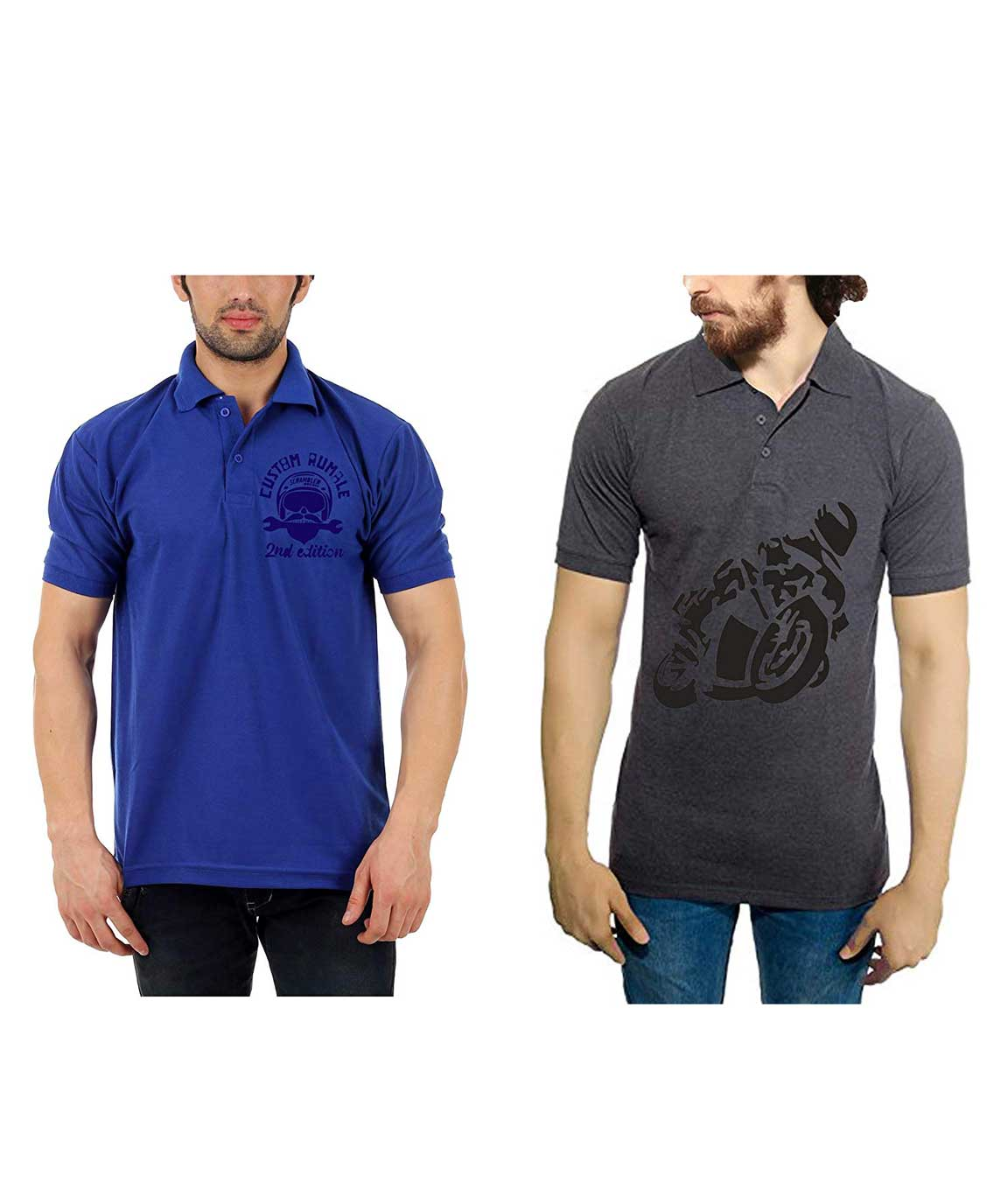Vestiario Biker Combo of 2 Polo Neck T-Shirts with Free Cap and Key Chain