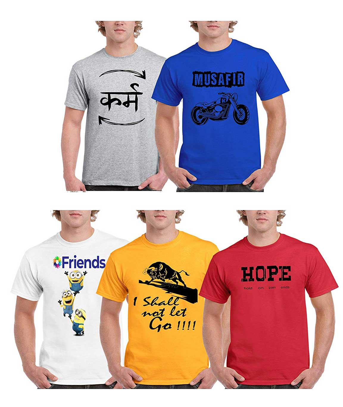 Vestiario Super Dry Fit Round Neck Printed T-Shirts Pack of 5