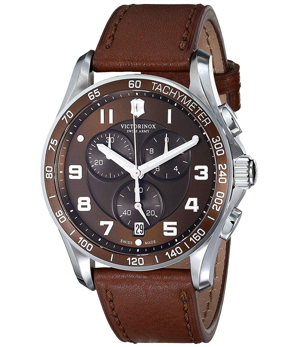 Victorinox Mens Classic Stainless Steel Watch with Brown Leather Band
