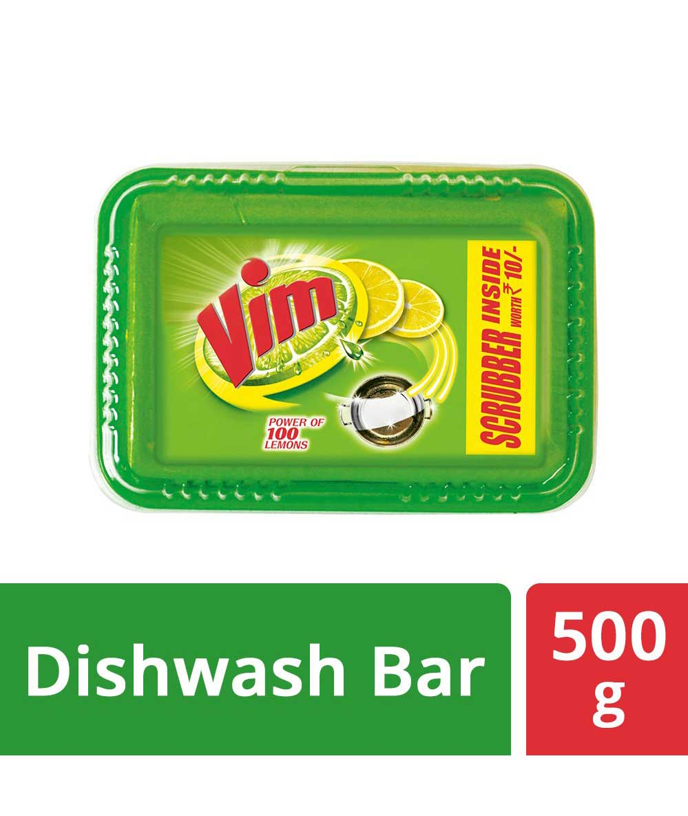 Vim Dishwash Bar Monthly Tub - 500 g with free Scrubber