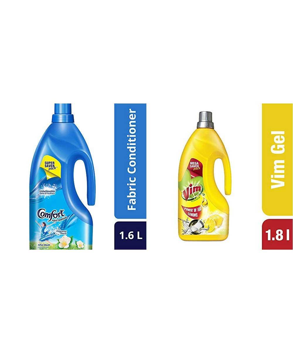 Vim Dishwash Gel, Lemon, 1.8 L & After Wash Morning Fresh Fabric Conditioner, 1.6 L Combo