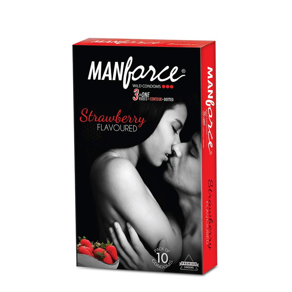 Manforce 3 in 1 (Ribbed, Contour, Dotted) Wild Strawberry Flavoured Condoms - 10 Pieces