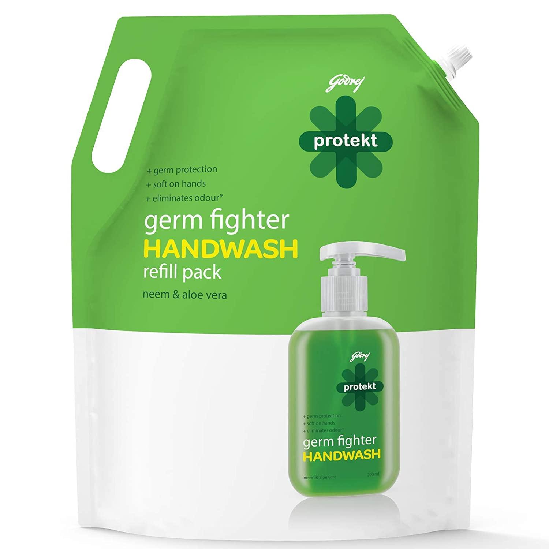 Godrej Protekt Germ Fighter Handwash Refill, Neem & Aloe Vera - 1.5 L