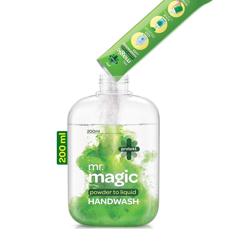 Godrej Protekt Mr. Magic Powder-to-Liquid Germ Protection Handwash Refill + Empty Bottle, (makes 200ml)