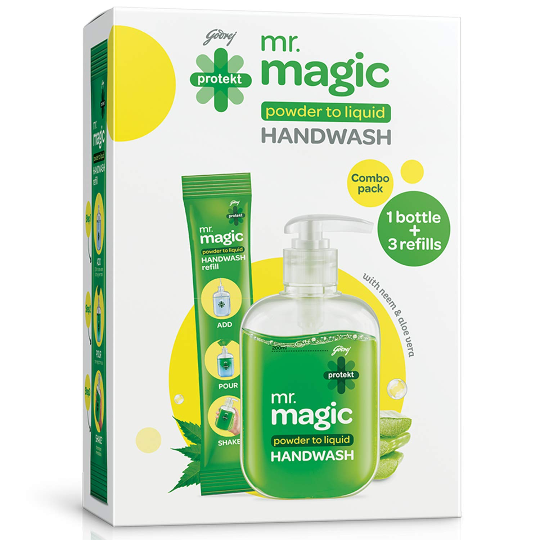 Godrej Protekt Mr. Magic Powder-to-Liquid Germ Protection Handwash Empty Bottle + 3 Refills, 27gm (makes 200ml)