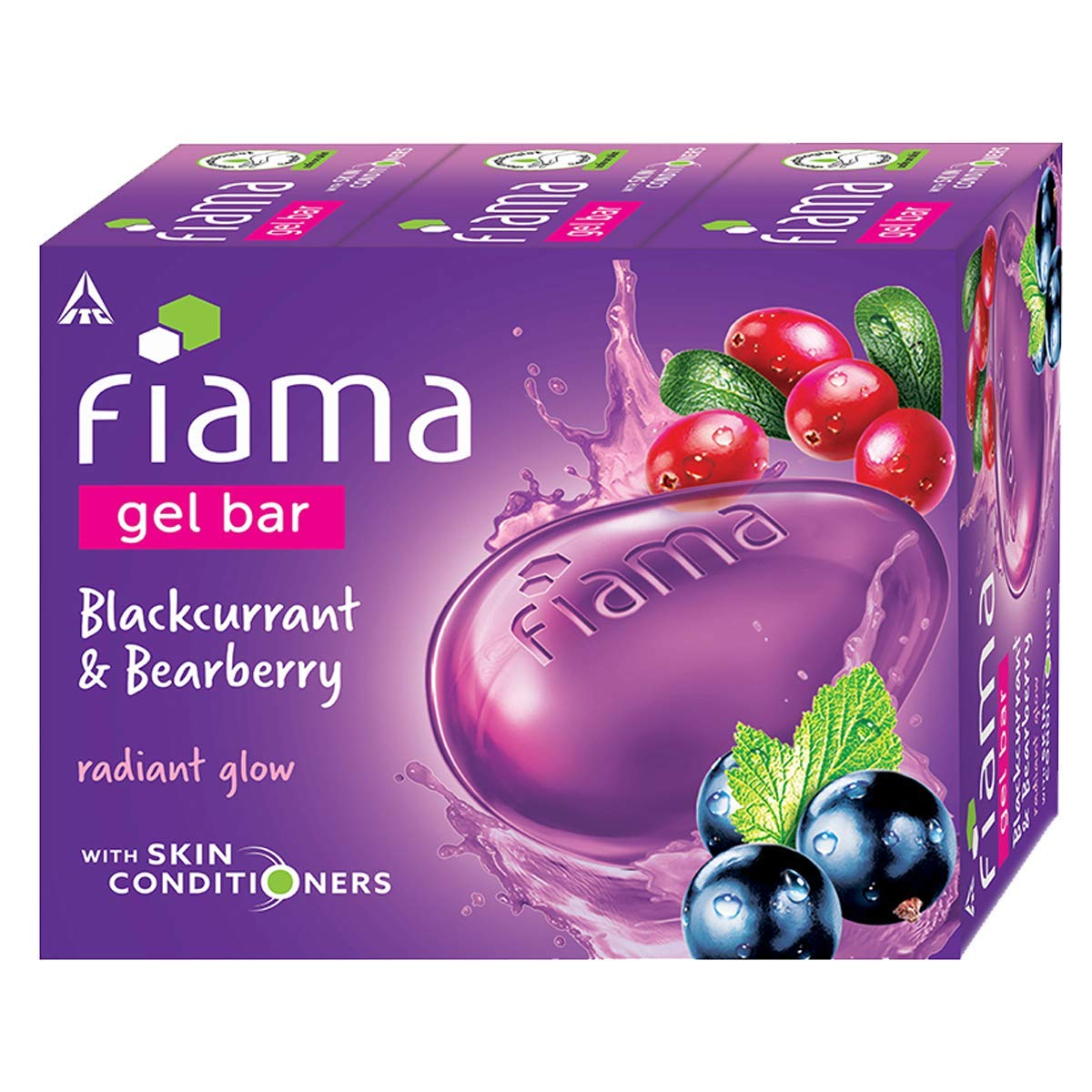 Fiama Gel Bar Blackcurrant and Bearberry for radiant glowing skin, with skin conditioners, 125 gm soap (Pack of 3)