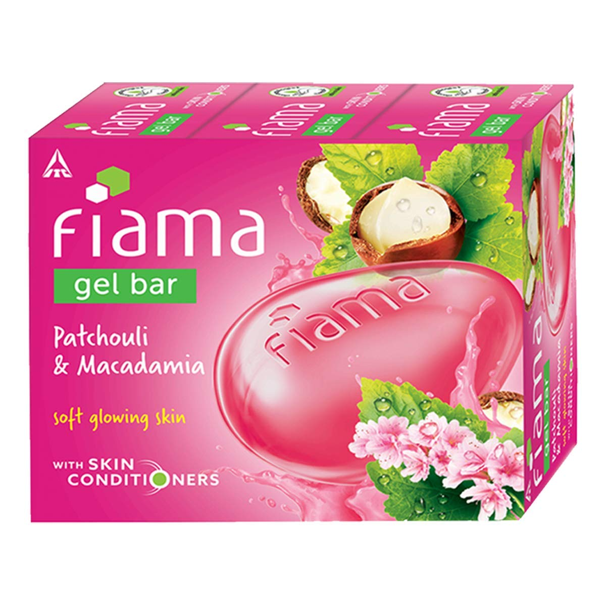 Fiama Gel Bar Patchouli and Macadamia for soft glowing skin, with skin conditioners, 125 gm (Pack of 3)