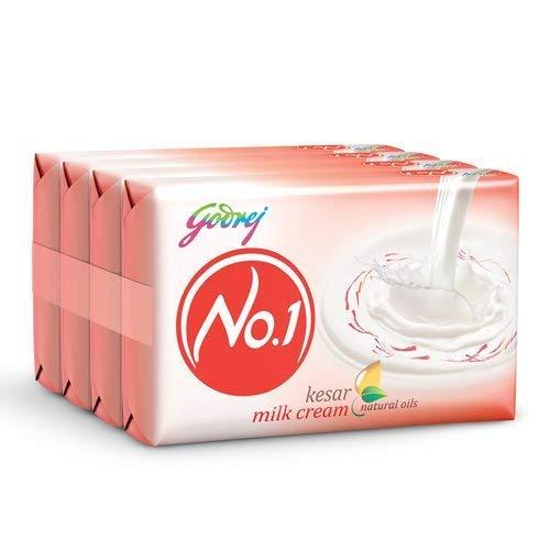 Godrej No.1 Bathing Soap, Kesar & Milk Cream, 150gm (Pack of 4)