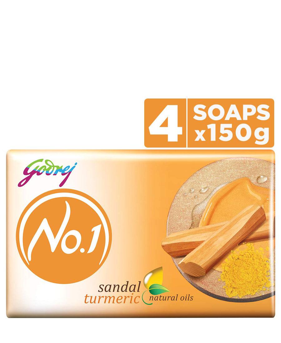 Godrej No.1 Bathing Soap, Sandal & Turmeric, 150gm (Pack of 4)